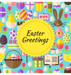 Flat happy easter background vector
