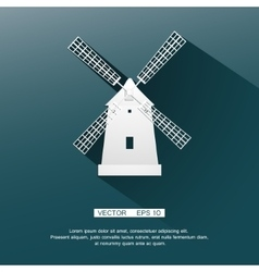 Flat image of the mill white on a blue background vector image