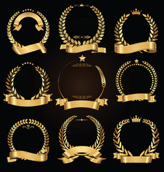 golden laurel wreath with golden ribbon vector image