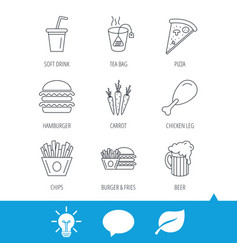 hamburger pizza and soft drink icons beer vector image vector image
