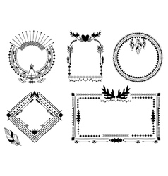 Hand drawn tribal frames vector