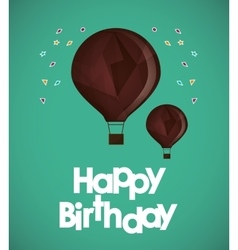 Happy birthday air balloons confetti ed vector