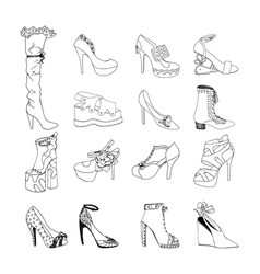 High-heeled shoes for woman fashion footwear set vector