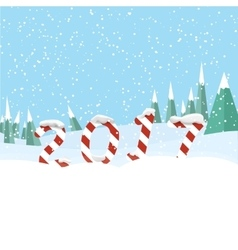 New year 2017 in shape of candy stick in snow vector