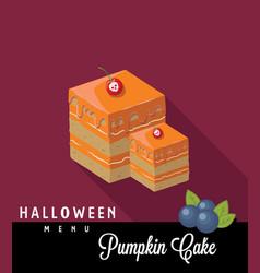 Pumpkin cake halloween menu vector
