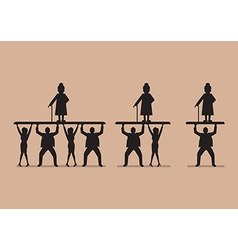 Ratio of workers to pensioners in silhouette vector