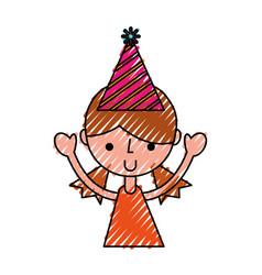 Scribble upperbody party girl cartoon vector