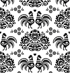 Seamless Polish Slavic black folk art pattern vector image vector image