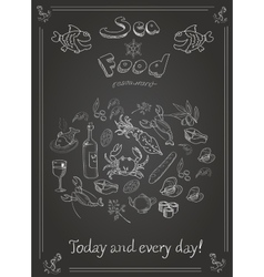 Set of hand drawn seafood on blackboard vector image