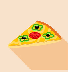 Slice of vegetarian pizza icon flat style vector