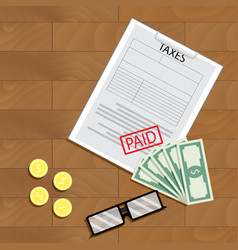 Tax paid view top vector