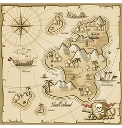 Treasure island map in hand drawn style vector image