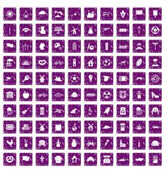 100 mill icons set grunge purple vector