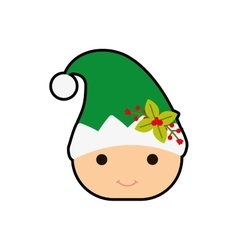 Elf merry christmas icon vector