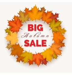 Big autumn sale wreath label vector