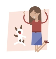 Girl and dog jumping for joy vector