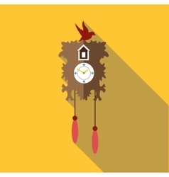 Wall cuckoo clock icon flat style vector image