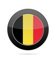 Flag of belgium shiny black round button vector