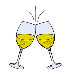 glasses of white wine icon cartoon vector image