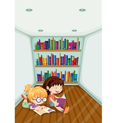 Two girls reading inside the room vector image