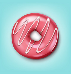 Single pink donut vector