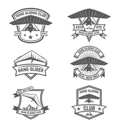 Hang gliding club emblems design elements for vector