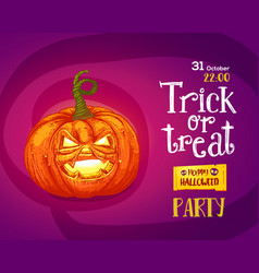 halloween trick or treat poster vector image
