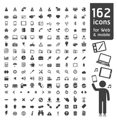 162 Icons for web applications and tablet Mobile vector image