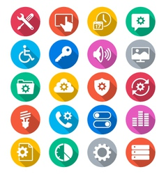 Setting flat color icons vector image