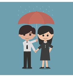 man and woman under a red umbrella vector image