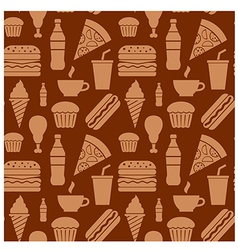fastfood pattern brown2 vector image