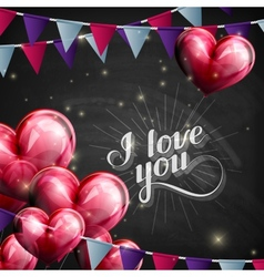I love you retro label on blackboard vector