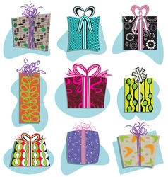 retro gift boxes icons vector image