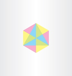 Geometric colorful hexagon with triangles icon vector