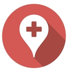 Clinic map pointer flat round icon with long vector