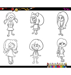 Kid girls set coloring book vector