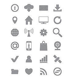 Gray internet icons set vector