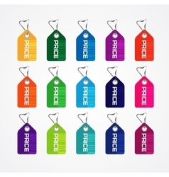 Set of colorful price tags for market commercial vector