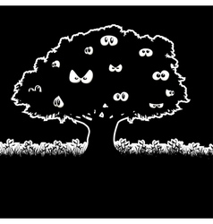 The tree in the night vector