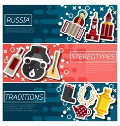Set of horizontal banners about russia vector