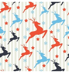 Christmas pattern with deers Seamless retro vector image