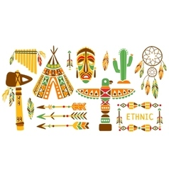 American indian ethnic elements boho style design vector