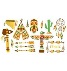 American indian ethnic elements boho style design vector