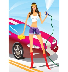 Car wash with fashion model vector image vector image