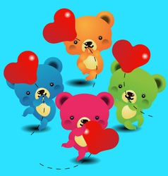 cute bears keeps the balloon vector image vector image
