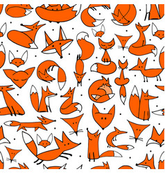 Cute foxes seamless pattern for your design vector