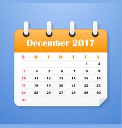 european calendar for december 2017 vector image vector image