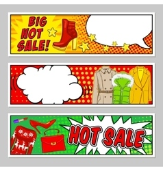 Fashion comic style banners set vector