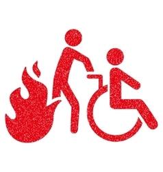 Fire patient evacuation grainy texture icon vector
