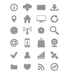 Gray internet icons set vector